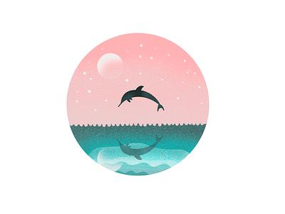 Dolphin Illustration logo sea moon dolphin uidesign ui uxui ux illustration illustrator