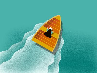 Floating ui design uxui water floating boat girl illustration girl illustration illustrator