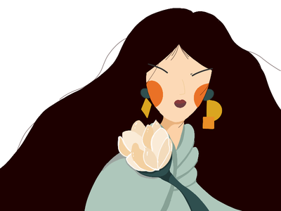 Lady with Peony illustrator art illustrator ui branding design illustration dailyui