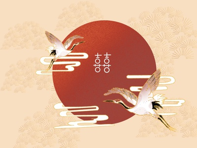 Illustration - Crane wedding procreate chinese culture nature art crane illustration art illustration illustrator dailyui