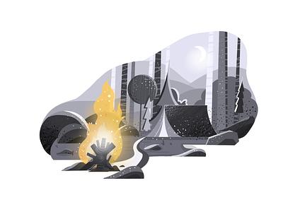 Illustration - Campfire campfire tent night illustration art illustraion illustrator dailyui
