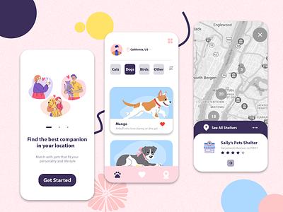Pet Adoption App pet adopt dog weekly challenge adoption pet animal design illustration ux design mobile app uxui