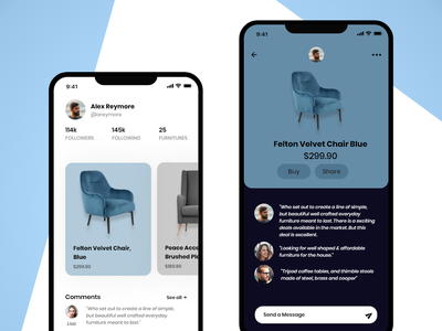 App for buying or selling second hand furniture adobe illustrator adobe xd visual design typography interaction design color icon ux vector ui design