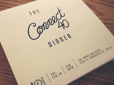 Connect40 typography lettering invitation