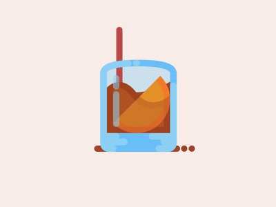 Old Fashioned cocktail whiskey thick lines illustration
