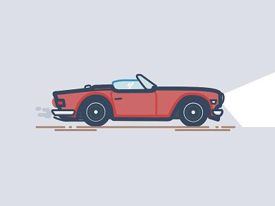 '76 TR-6 thick lines triumph illustration
