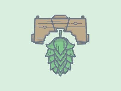 Hop Shot.  liberty bell beer hops illustration