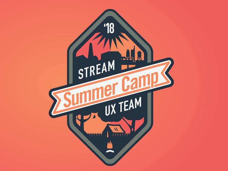 """Stream Team"" Summer Camp Badge skyline badge hunting badge thick lines vector illustration"