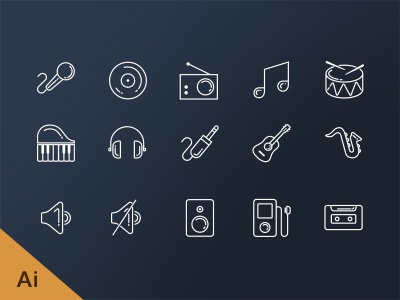 Free Music line icons line icons flat free ios7 stroke icons music mic disk cd tunes piano
