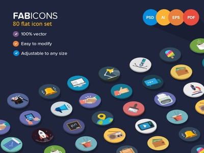 Fabicons flat ui colorful psd flat icons 80 icons iconset minimal simple interface iphone
