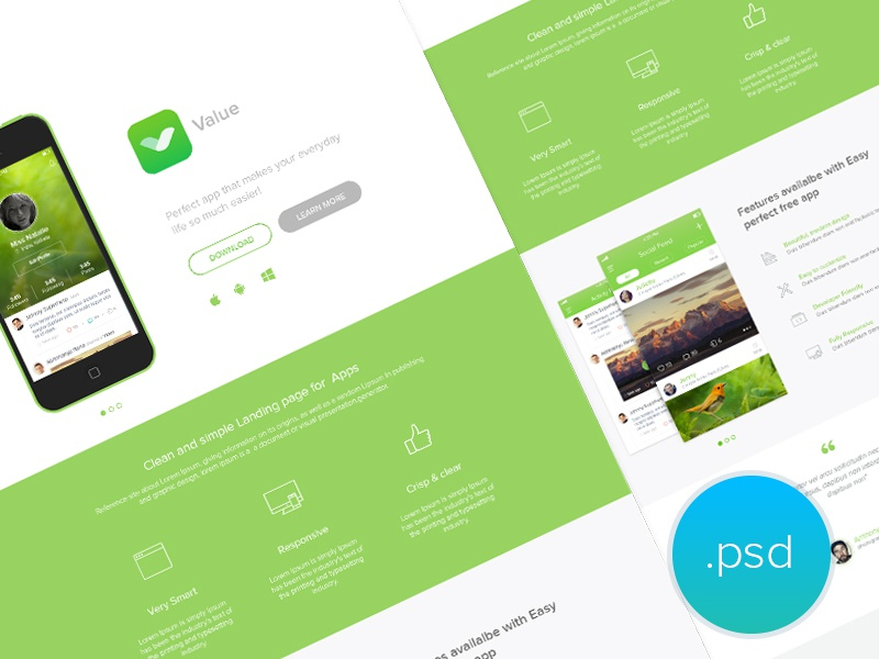App Landing Page - freebie free landing page free psd psd website app clean ui line icons product page