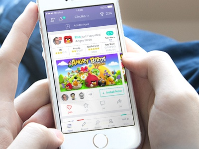 AppBullseye Iphone App app discovery iphone ios8 ui ux clean minimal white feed menu tab bar