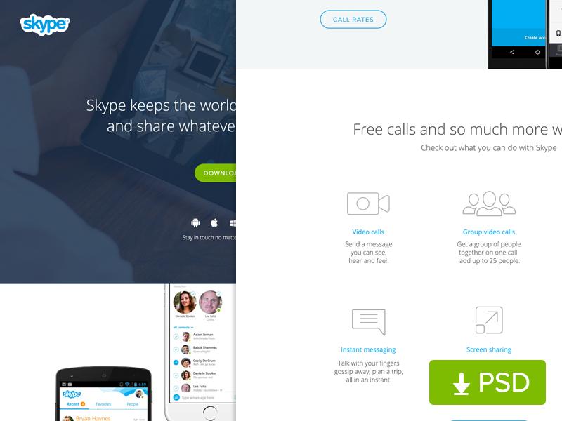 (Free PSD) Skype Website Redesign android layout app landingpage homepage website freebie ui iphone psd redeisgn skype