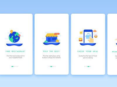 Onboarding Screens - Restaurant App ios food ordering app mobile onboarding phone map restaurant ui ux tracking