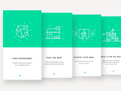 Onboarding Screens - Restaurant App web tutorial steps search restaurant onboarding mobile walkthrough illustration app