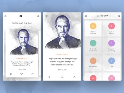 UI Kit (Quotes) ui kit steve jobs ux android like sketch quotes mobile illustration app