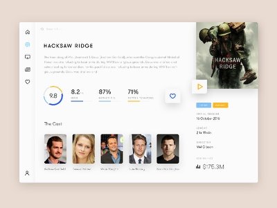 Movie Details youtube streaming movies ux ui tv show rating iphone imdb android app dahboard