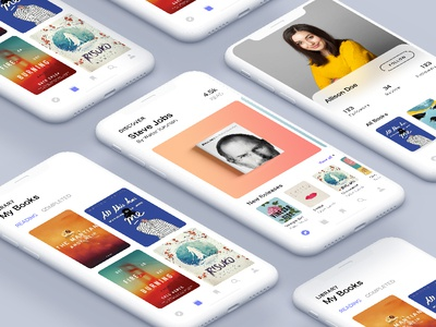 iPhone X - Book reading App Concept book reading iphone x ios 11 ux ui phone profile gradient book home