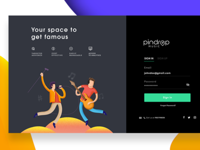 Pindrop Music Artist Landing page landing page android iphone gif animation ux ui music