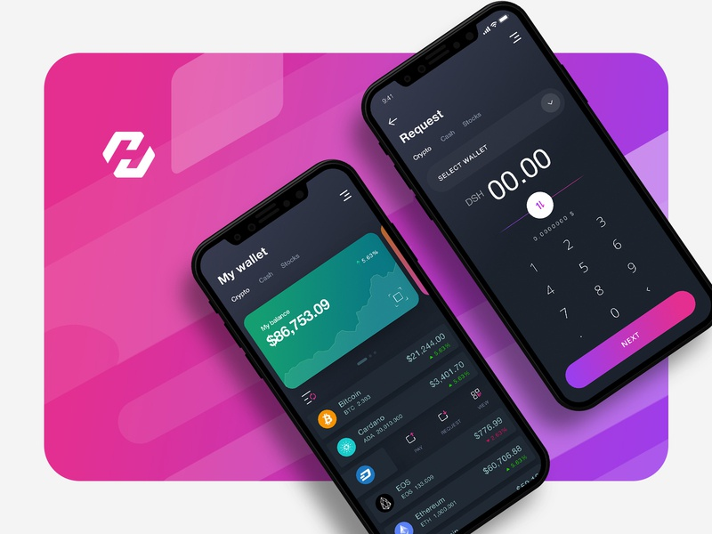 Crypto Wallet dash iphone x request money crypto wallet interface design crypto currency app illustration
