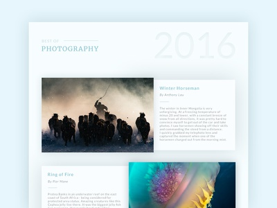 Best Of 2016 - Daily UI #63 best of 2016 information dailyui card review photography list