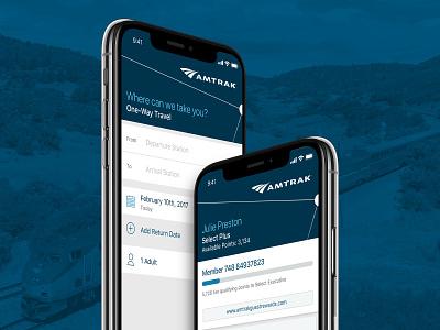 Amtrak Mobile Rider App branding app design trains ui designs mobile design app