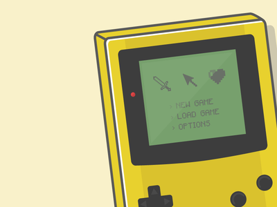 A Girl and Her Gameboy illustration yellow gbc gameboy video games