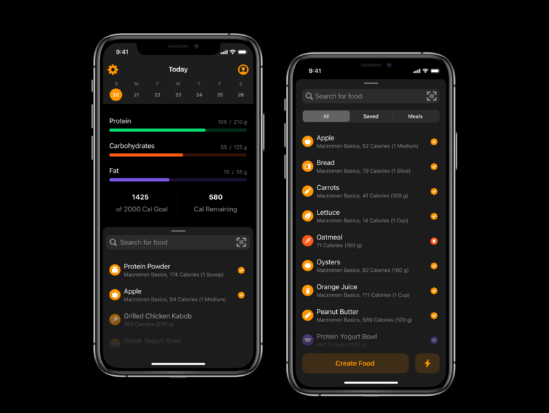 Refreshed Overview & Food Search ux progress diet food search user interface mobile darkmode dark ios