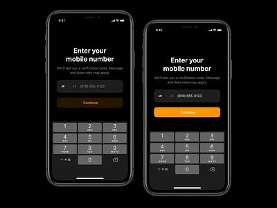 Verification mobile ui text dark ux user interface ui mobile ios darkmode authentication authenticate login verification
