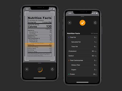 Nutrition Label Scanner diet nutrition label food scanner user interface mobile dark app ui ios