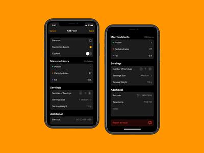 Add Food Item nutrition macros diet ui food user interface mobile dark app ios
