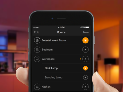 Lights ios user interface switch buttons icons list mobile label dark hue lifx