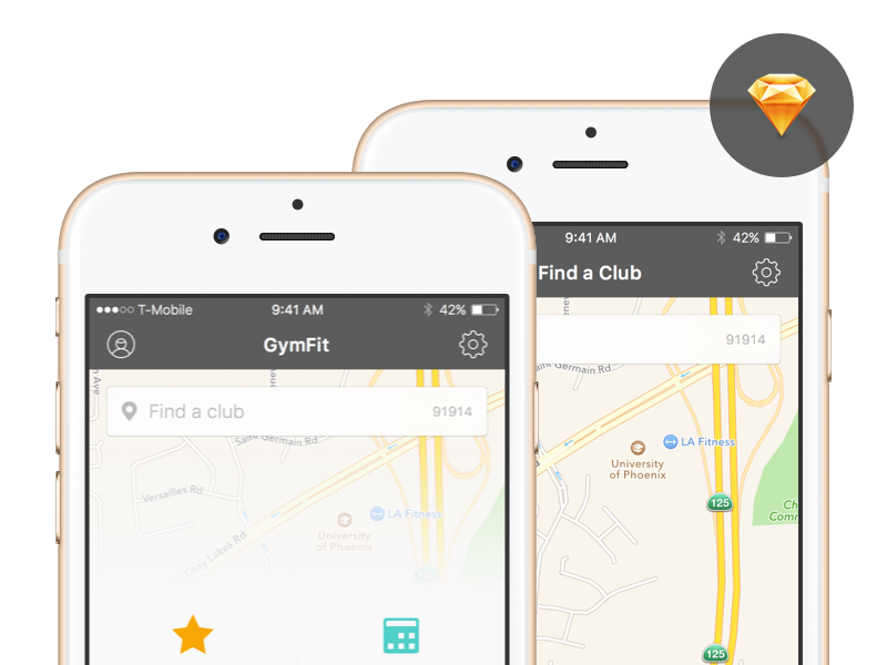 GymFit App - Sketch Freebie download mobile user interface sketch freebie app ios