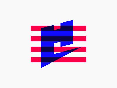 H stamp brand flag stripes logomark
