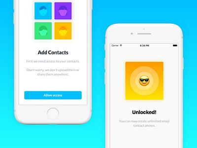 Smirk 2.0 emojis contacts onboarding ui smirk welcome app store ios 11 app