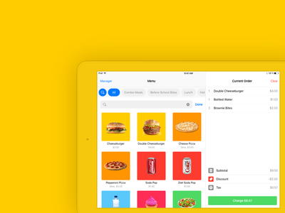 Current Order menu checkout sale food order pos ui design ipad ios