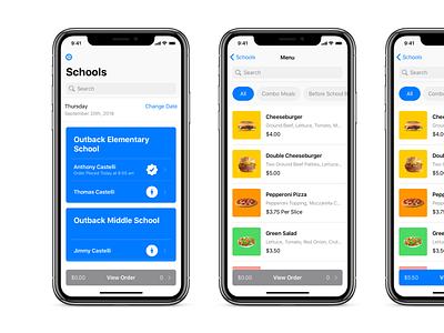 School Food Menu categories filter search menu mobile flow ux ui food order school food app food iphone ios