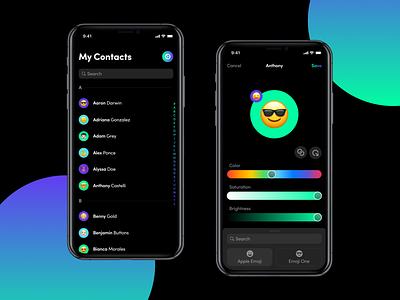 Happy Contacts minimal download design gradient drawer list emoji dark mode contacts ui dark appstore app ios