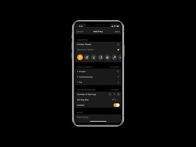 Add Food food app nutrition diet macros food user interface mobile icons dark ui app ios