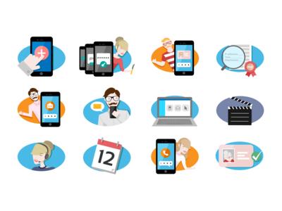 Illustrations set for service explanation -  Lleida.net 2016