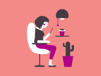 Relaxing at home - Illustration for Click & Sign