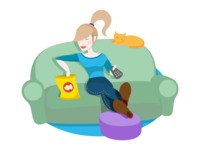Girl watching TV on the couch illustration