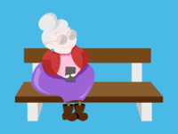 Techie Granny sitting on a bench illustration