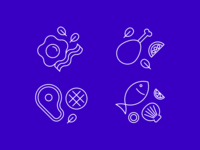 Food icons set - lineart