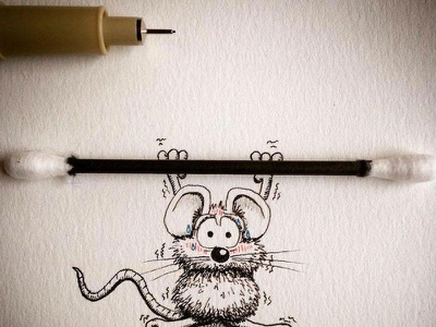 Mouse doing excercise image to  vector photo editing logo tracing logo design