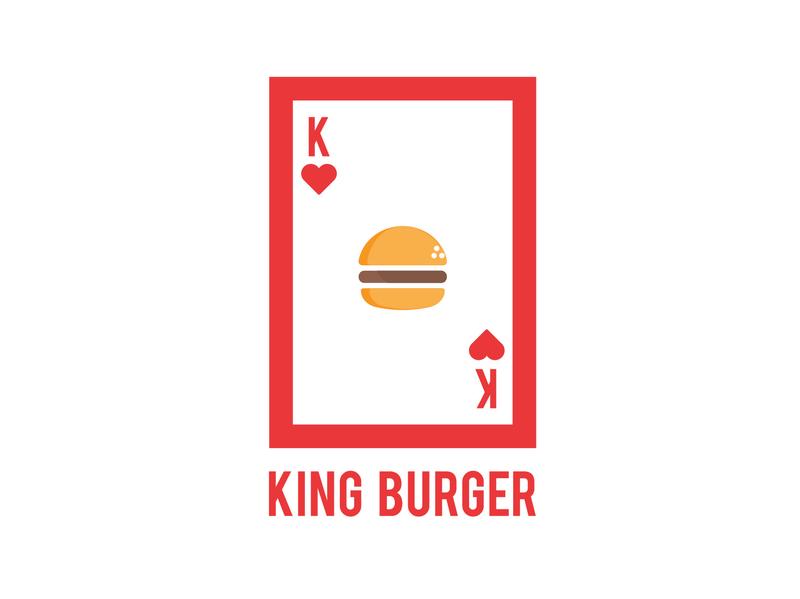 KING BURGER LOGO flat vector design illustration clean creative identity logo burger king burger