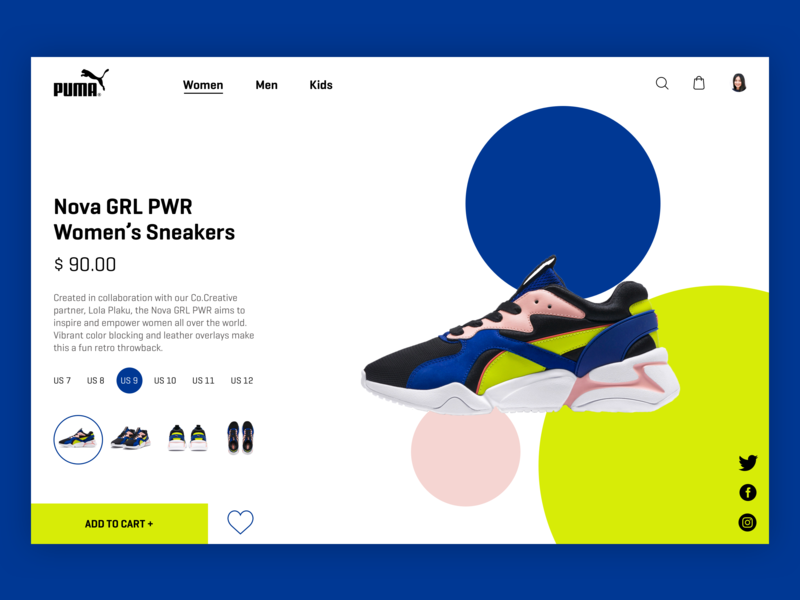 Puma E-commerce Page Uİ e-commerce page productpage product grlpwr colorful clean branding ui minimal design ux ui design ux identity website sneakers puma