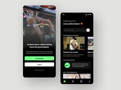 App Basketball skill Workout skills training menu interaction design nba workout basketball design ux
