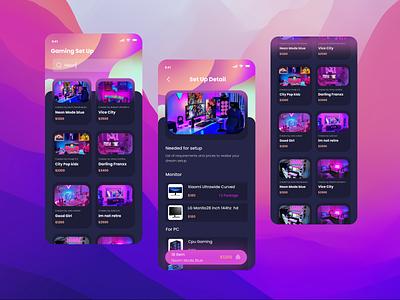 List Your Setup working or gaming search list setup game gaming app branding ux ui design aurora