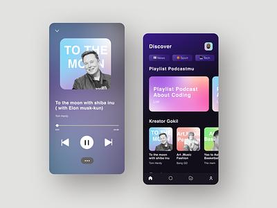 🎙Exploration Podcast App color aurora color darkmode talk spotify elon musk podcast app ux ui design